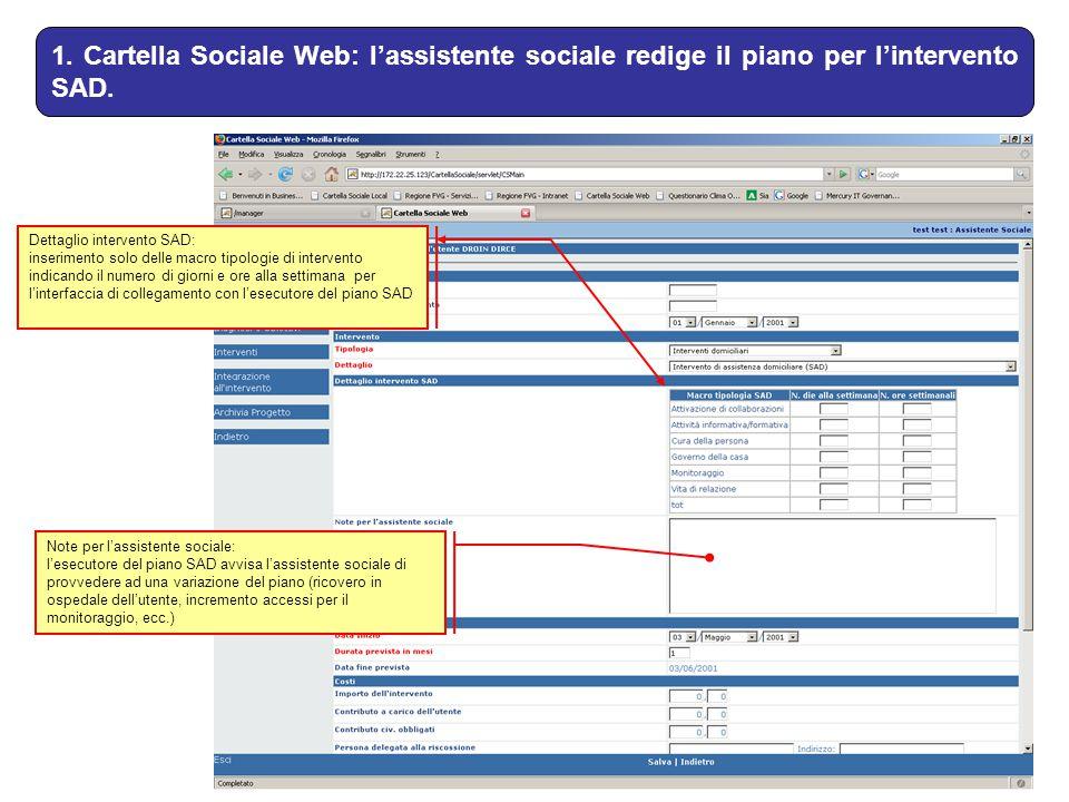 1. Cartella Sociale Web: l'assistente sociale redige il piano per l'intervento SAD.