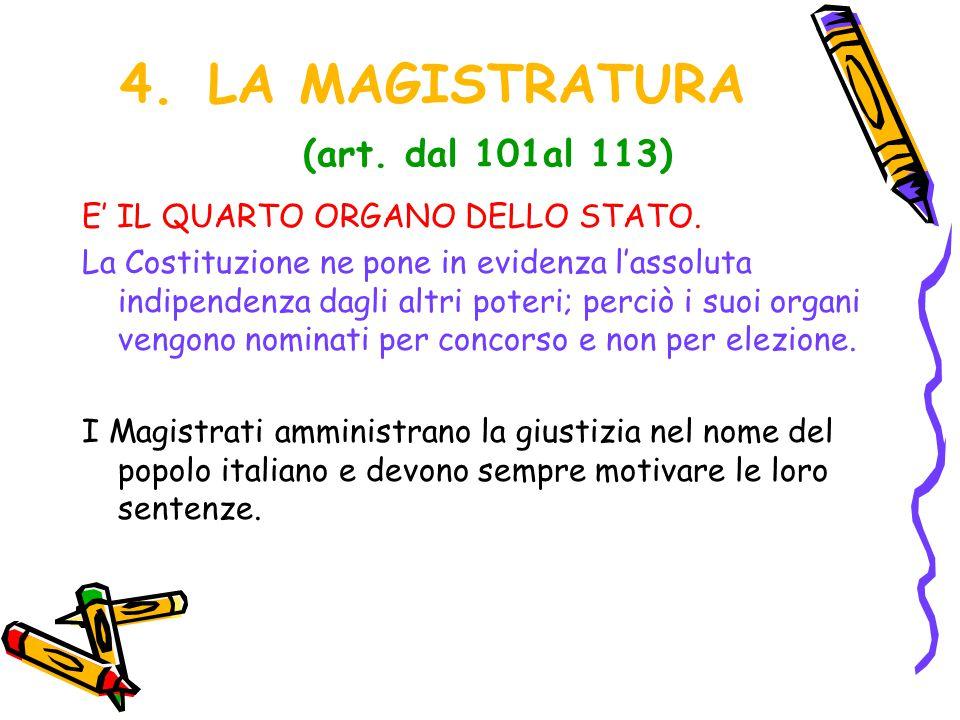 LA MAGISTRATURA (art. dal 101al 113)