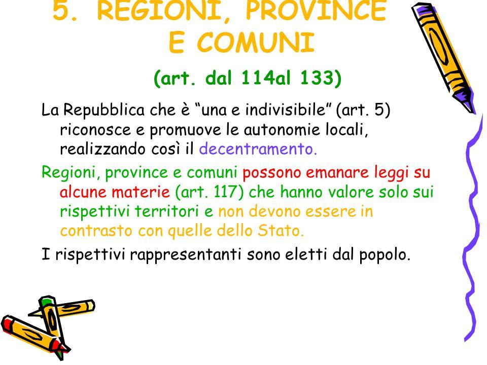 REGIONI, PROVINCE E COMUNI (art. dal 114al 133)