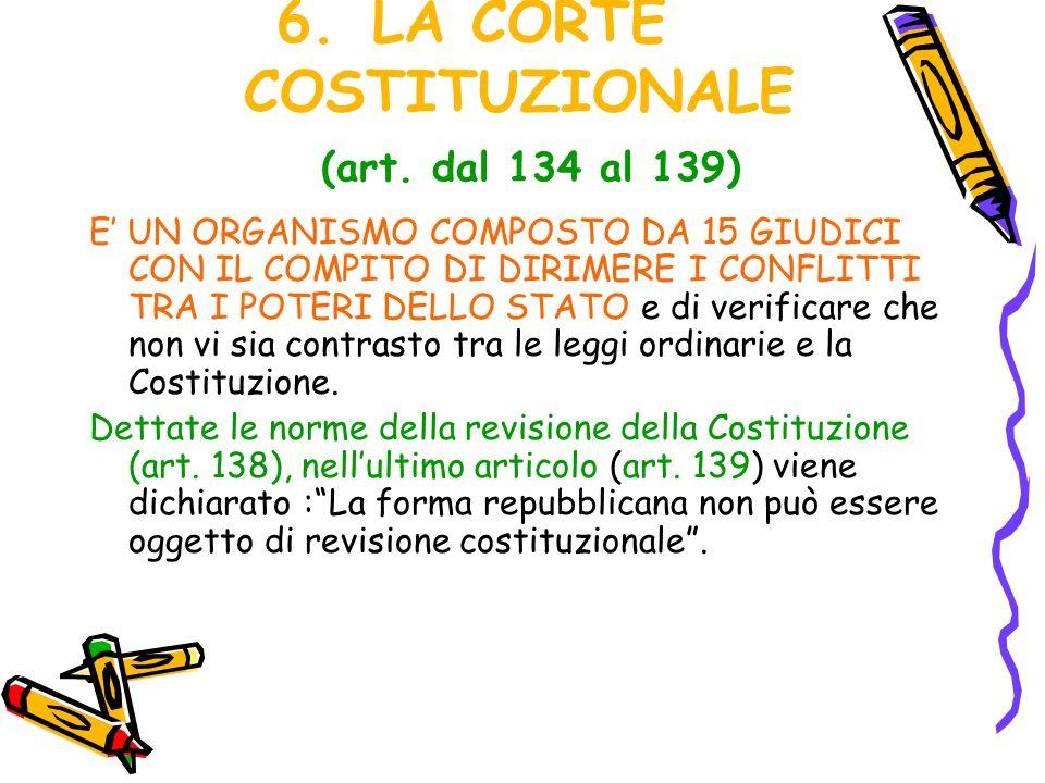 LA CORTE COSTITUZIONALE (art. dal 134 al 139)