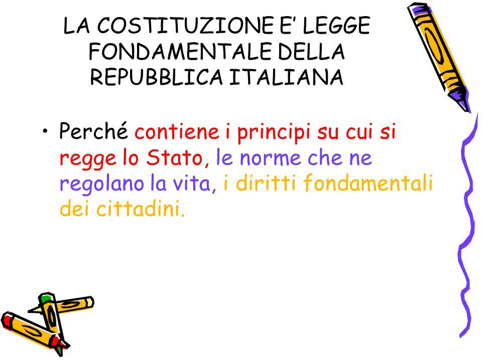 LA COSTITUZIONE E' LEGGE FONDAMENTALE DELLA REPUBBLICA ITALIANA