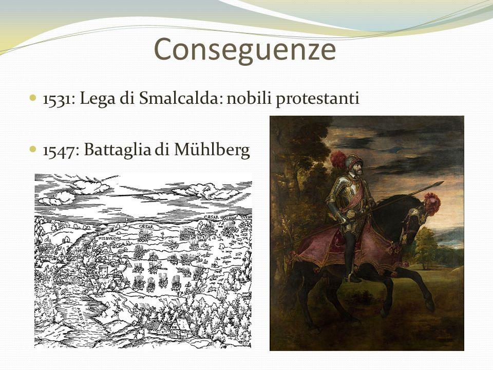 Conseguenze 1531: Lega di Smalcalda: nobili protestanti