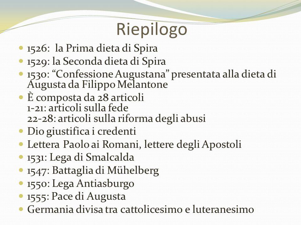 Riepilogo 1526: la Prima dieta di Spira