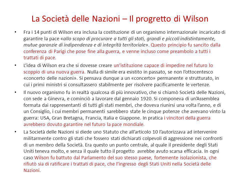 La Società delle Nazioni – Il progretto di Wilson