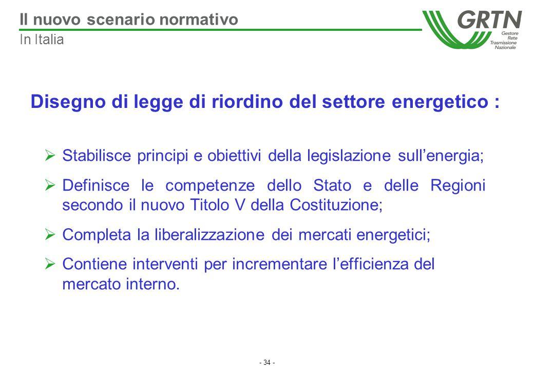 Disegno di legge di riordino del settore energetico :