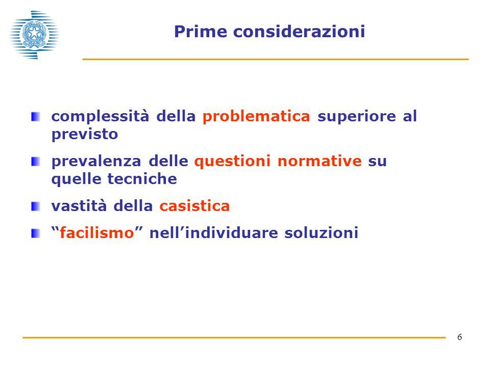Prime considerazioni complessità della problematica superiore al previsto. prevalenza delle questioni normative su quelle tecniche.