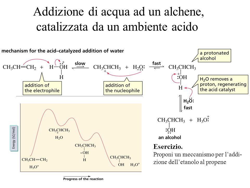 Addizione di acqua ad un alchene, catalizzata da un ambiente acido