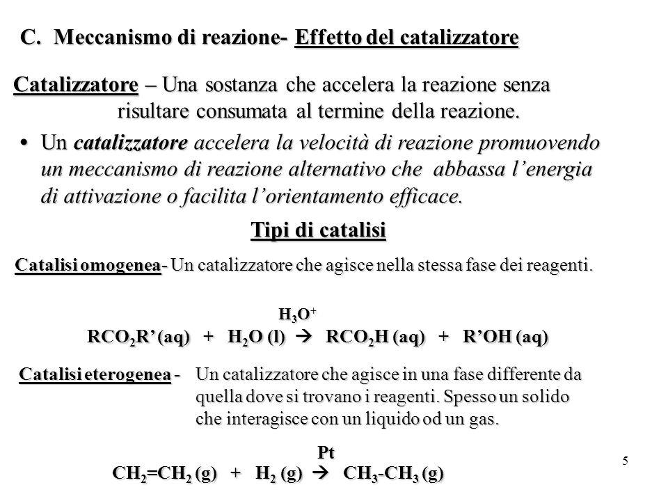 Meccanismo di reazione- Effetto del catalizzatore