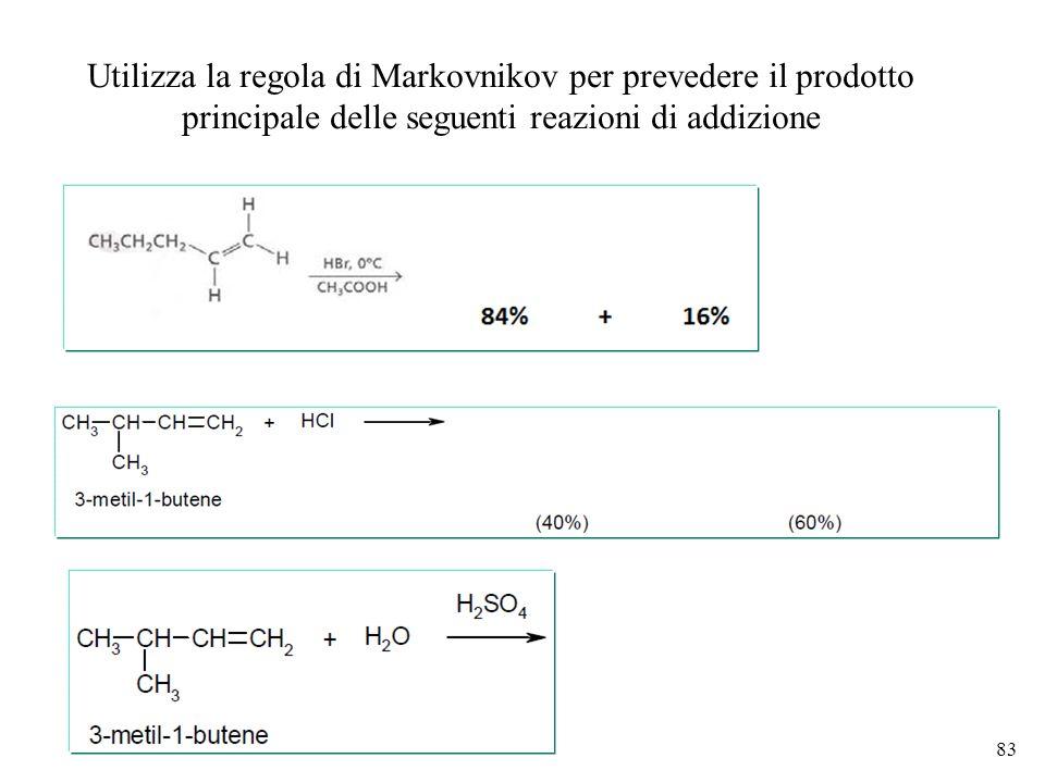Utilizza la regola di Markovnikov per prevedere il prodotto principale delle seguenti reazioni di addizione