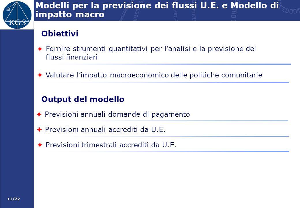 Modelli per la previsione dei flussi U.E. e Modello di impatto macro