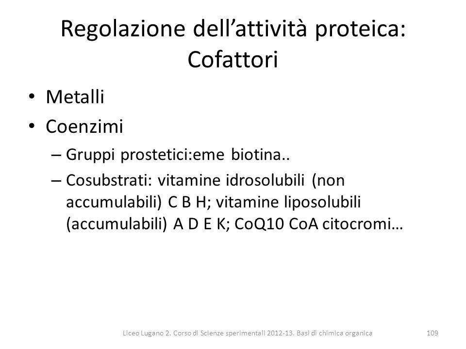 Regolazione dell'attività proteica: Cofattori
