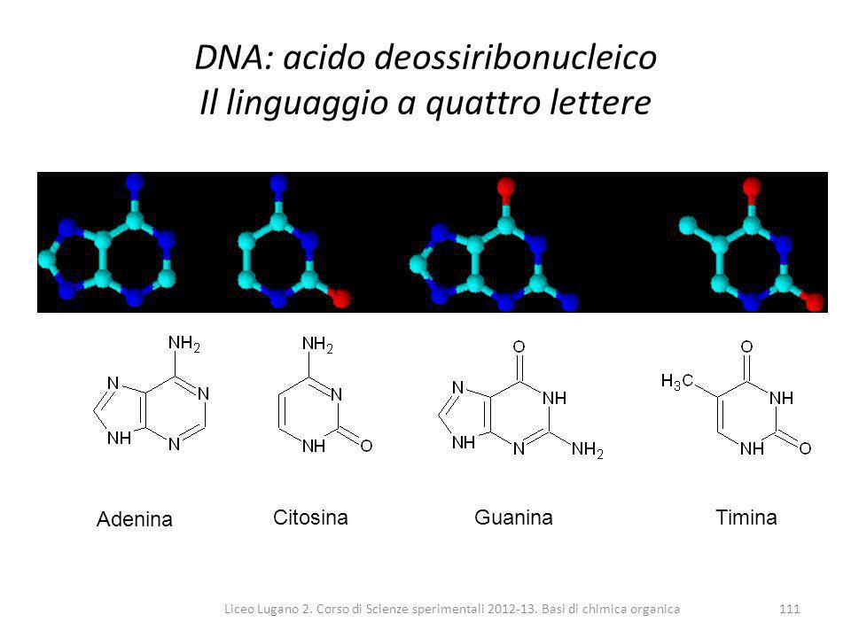 DNA: acido deossiribonucleico Il linguaggio a quattro lettere