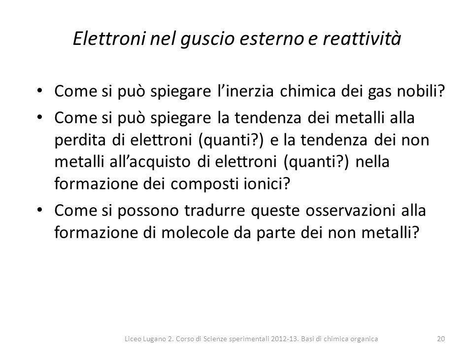 Elettroni nel guscio esterno e reattività