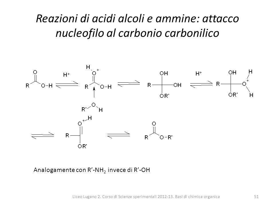 Reazioni di acidi alcoli e ammine: attacco nucleofilo al carbonio carbonilico