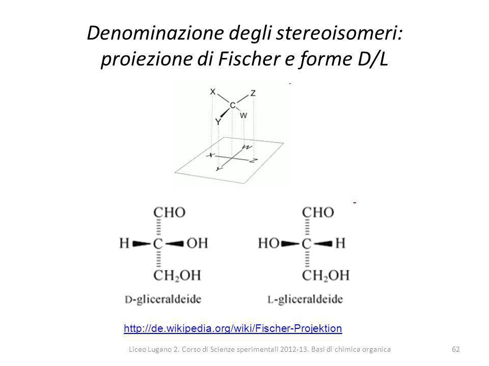 Denominazione degli stereoisomeri: proiezione di Fischer e forme D/L