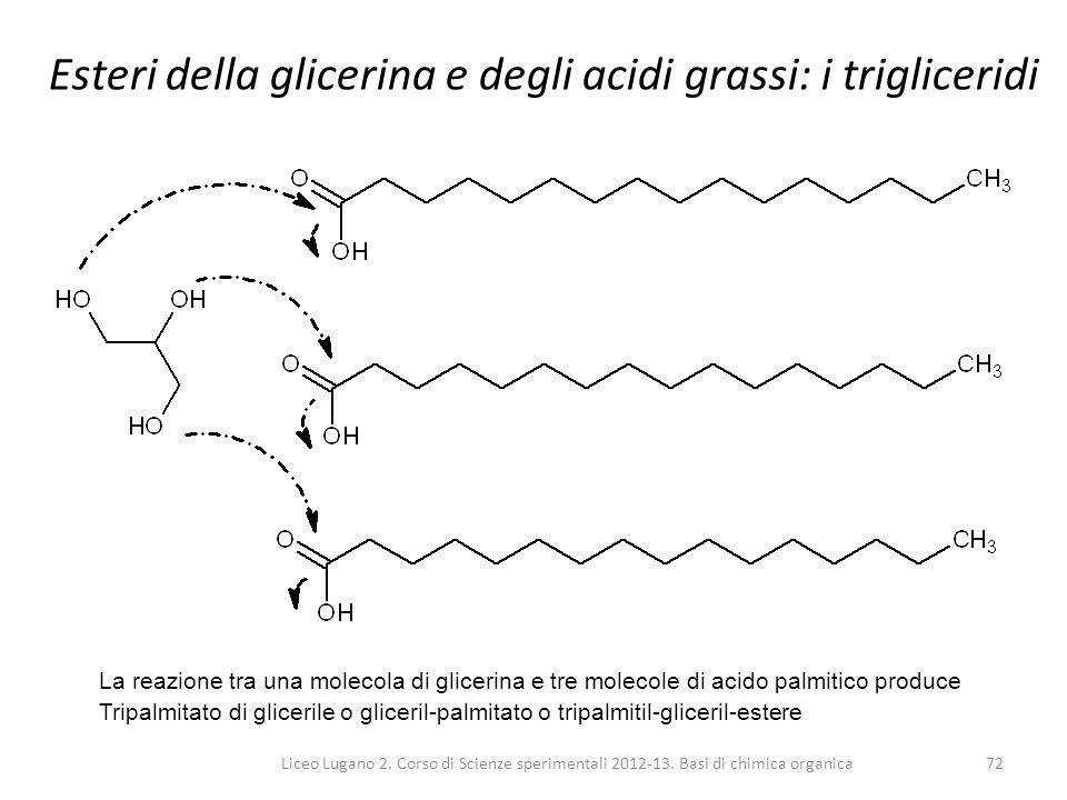 Esteri della glicerina e degli acidi grassi: i trigliceridi