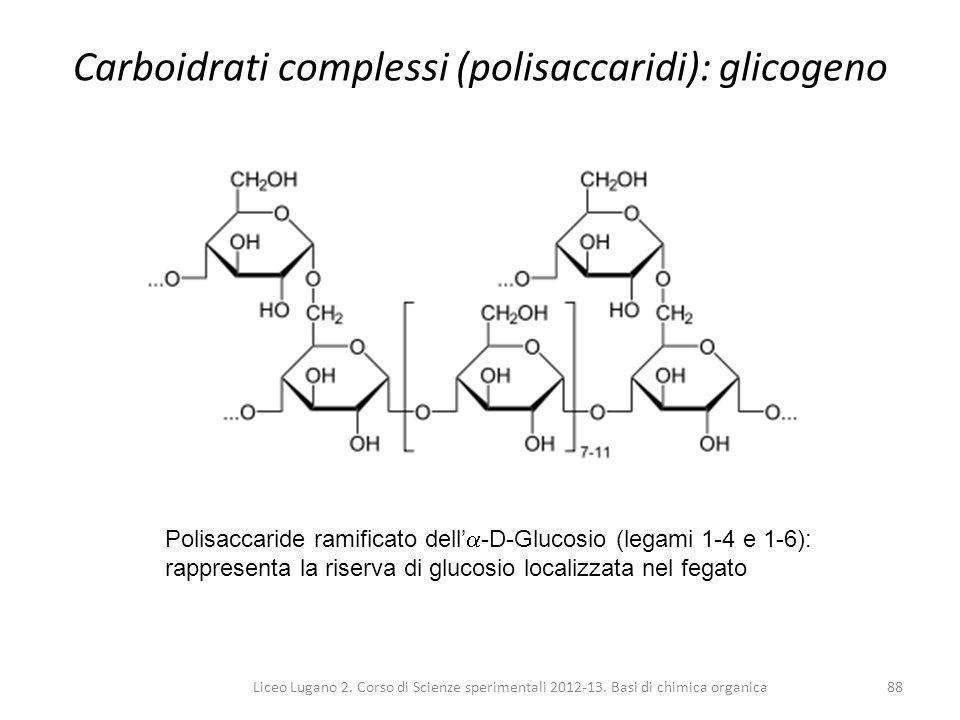 Carboidrati complessi (polisaccaridi): glicogeno