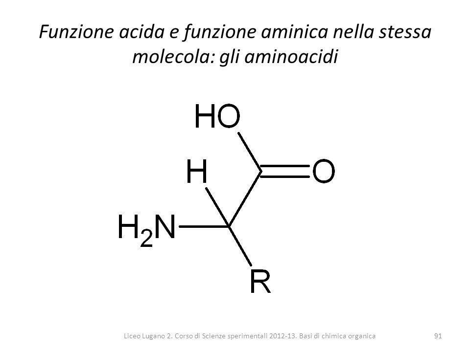 Funzione acida e funzione aminica nella stessa molecola: gli aminoacidi