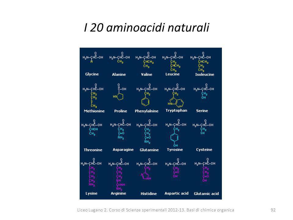 I 20 aminoacidi naturali Liceo Lugano 2. Corso di Scienze sperimentali 2012-13.