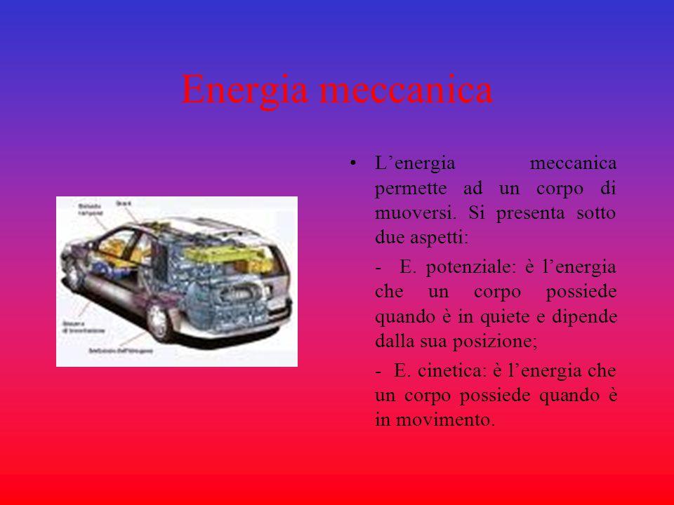 Energia meccanica L'energia meccanica permette ad un corpo di muoversi. Si presenta sotto due aspetti: