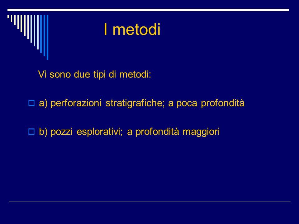 I metodi a) perforazioni stratigrafiche; a poca profondità
