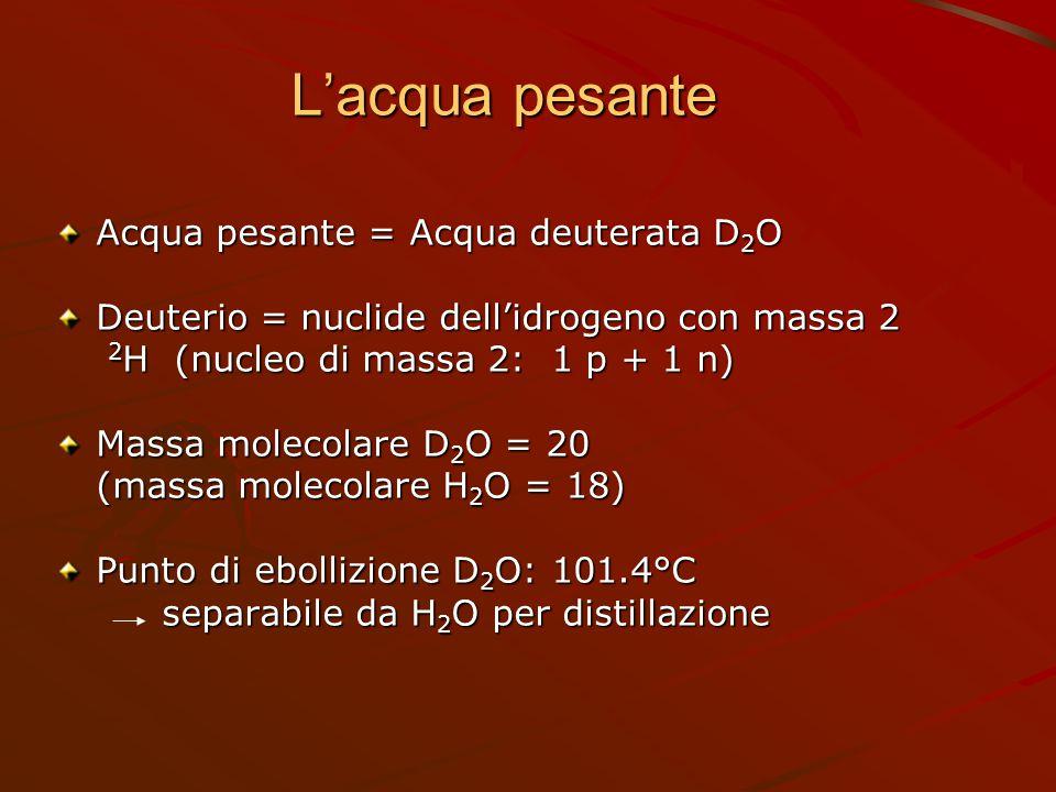 L'acqua pesante Acqua pesante = Acqua deuterata D2O
