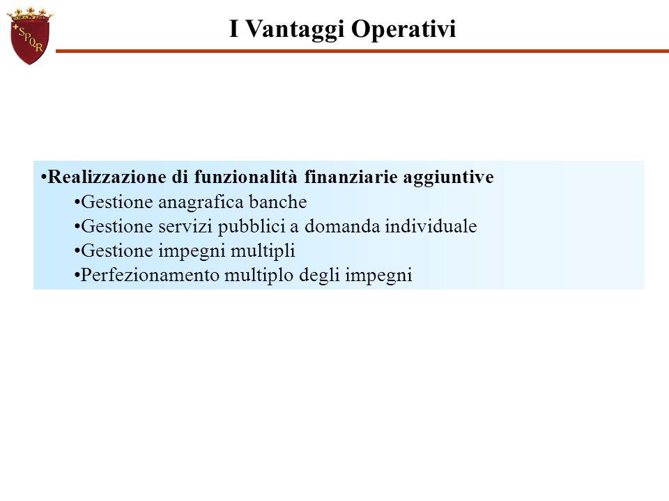 I Vantaggi Operativi Realizzazione di funzionalità finanziarie aggiuntive. Gestione anagrafica banche.