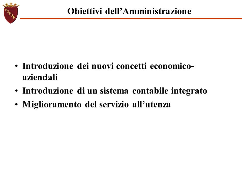 Obiettivi dell'Amministrazione