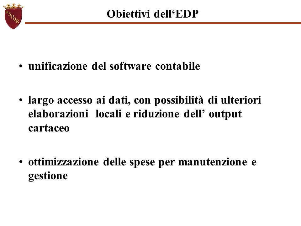 Obiettivi dell'EDP unificazione del software contabile.