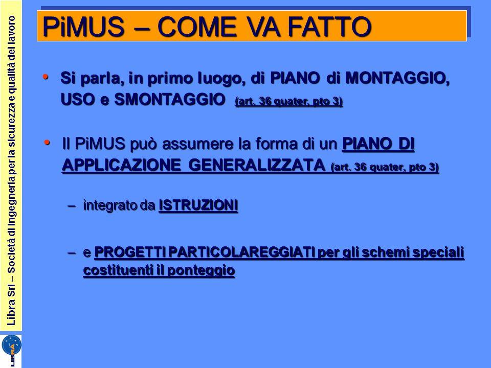 PiMUS – COME VA FATTO Si parla, in primo luogo, di PIANO di MONTAGGIO, USO e SMONTAGGIO (art. 36 quater, pto 3)