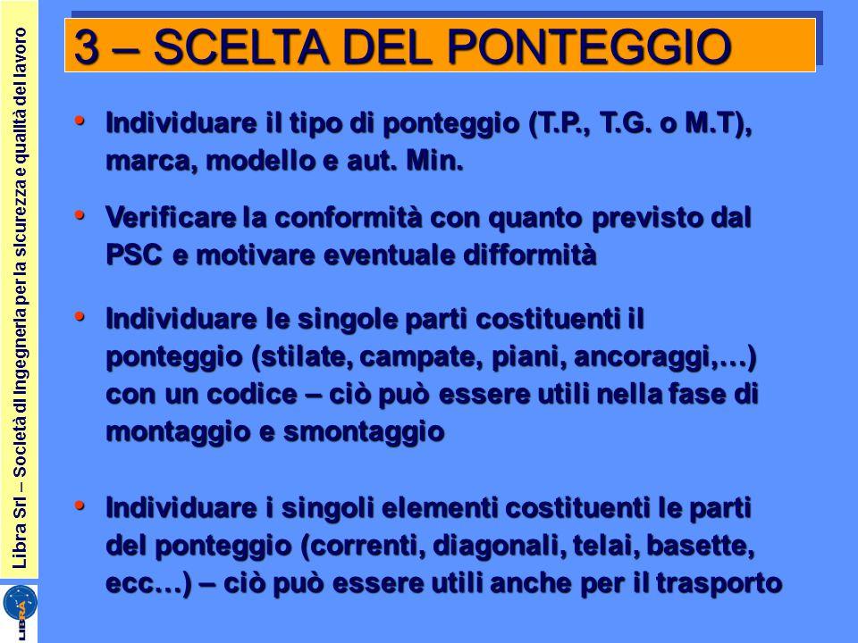 3 – SCELTA DEL PONTEGGIO Individuare il tipo di ponteggio (T.P., T.G. o M.T), marca, modello e aut. Min.