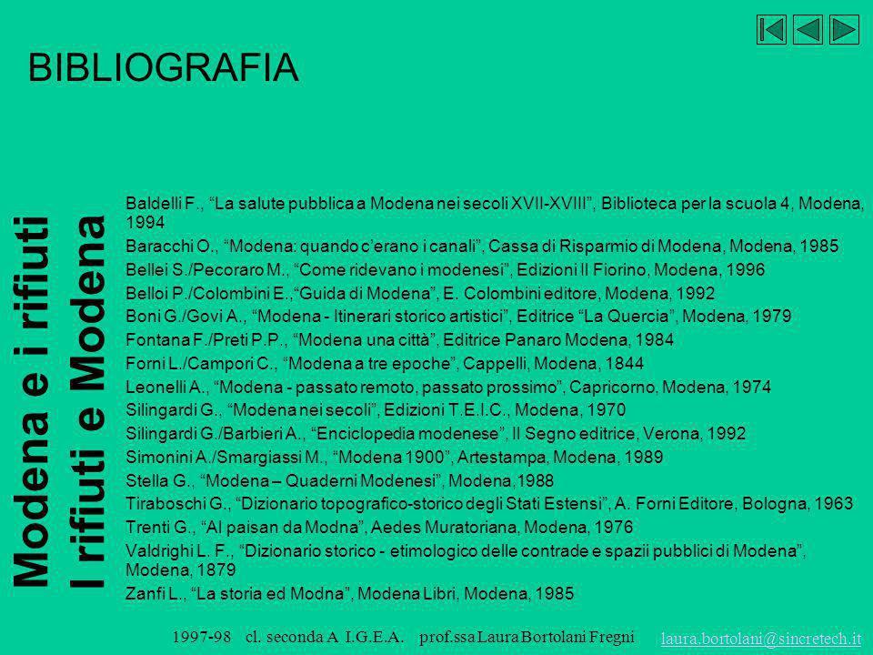 BIBLIOGRAFIA Baldelli F., La salute pubblica a Modena nei secoli XVII-XVIII , Biblioteca per la scuola 4, Modena, 1994.