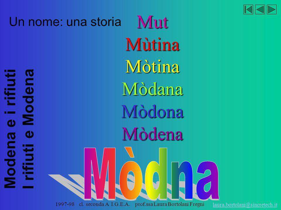 Mòdna Mut Mùtina Mòtina Mòdana Mòdona Mòdena Un nome: una storia