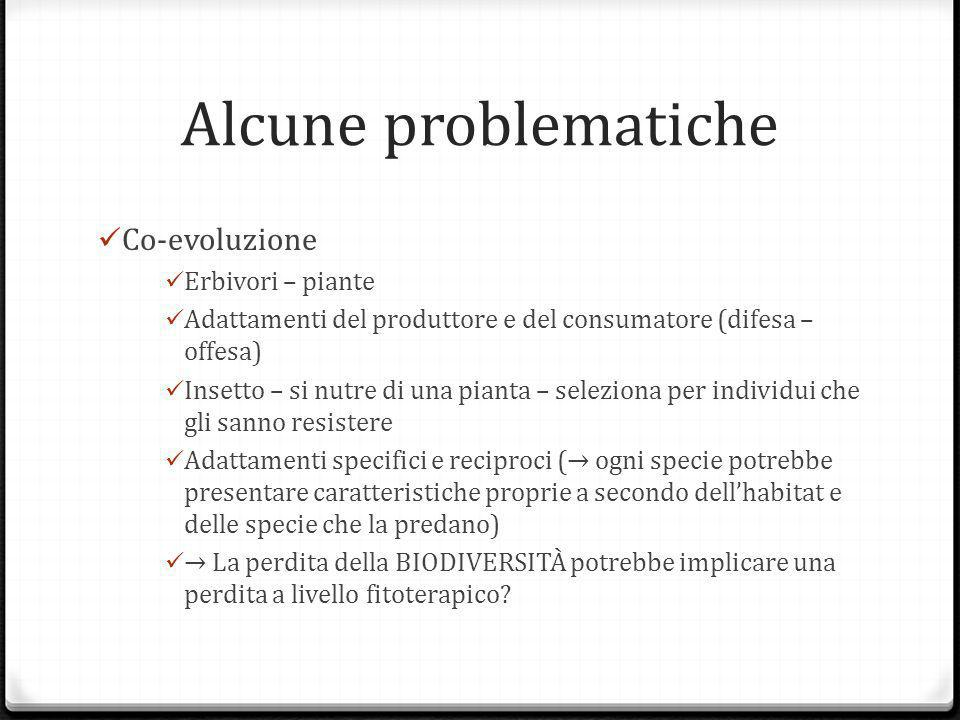 Alcune problematiche Co-evoluzione Erbivori – piante