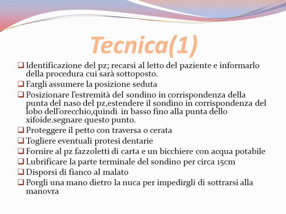 Tecnica(1) Identificazione del pz; recarsi al letto del paziente e informarlo della procedura cui sarà sottoposto.
