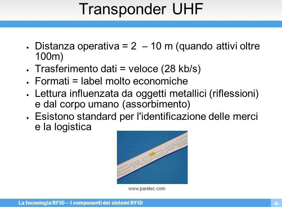Transponder UHF Distanza operativa = 2 – 10 m (quando attivi oltre 100m) Trasferimento dati = veloce (28 kb/s)