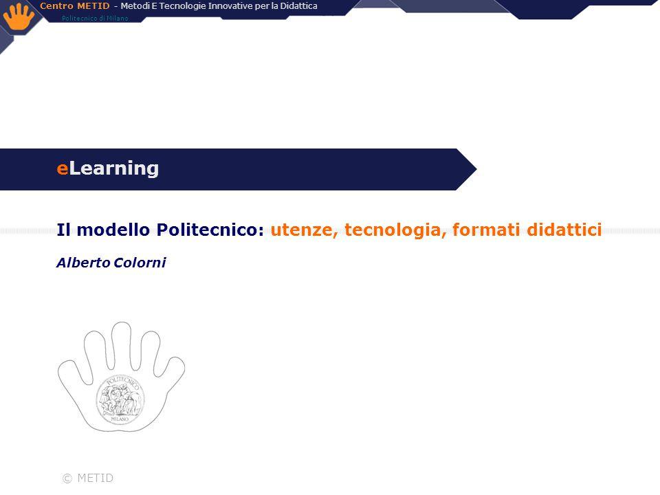eLearning Il modello Politecnico: utenze, tecnologia, formati didattici Alberto Colorni © METID