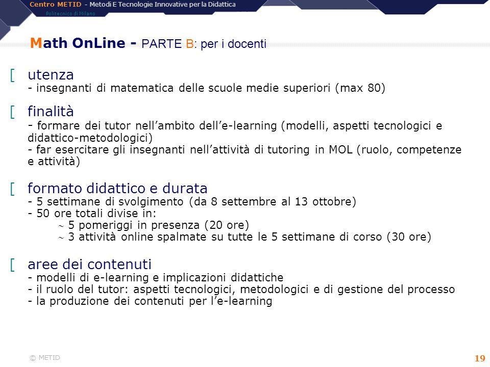 Math OnLine - PARTE B: per i docenti