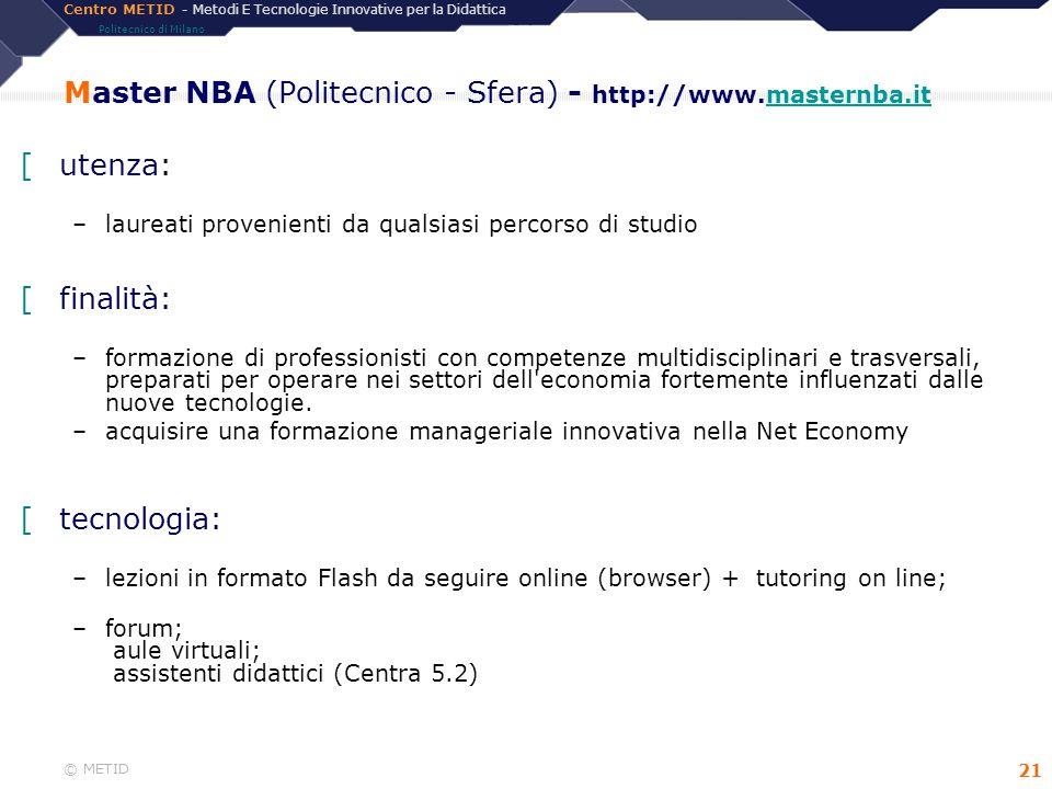 Master NBA (Politecnico - Sfera) - http://www.masternba.it