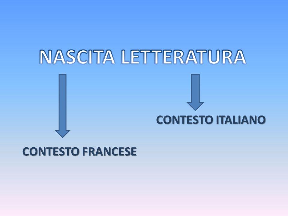 NASCITA LETTERATURA CONTESTO ITALIANO CONTESTO FRANCESE