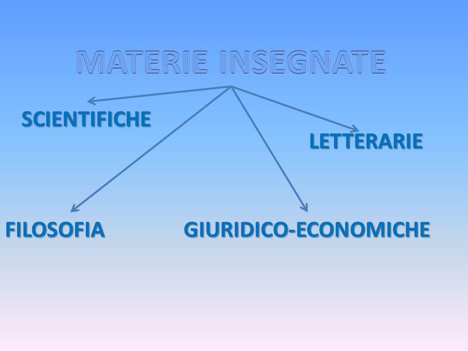 MATERIE INSEGNATE SCIENTIFICHE LETTERARIE FILOSOFIA