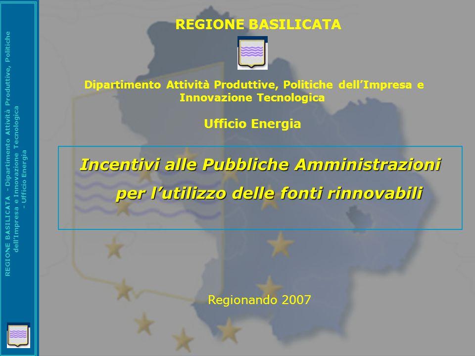 REGIONE BASILICATA Dipartimento Attività Produttive, Politiche dell'Impresa e Innovazione Tecnologica Ufficio Energia.