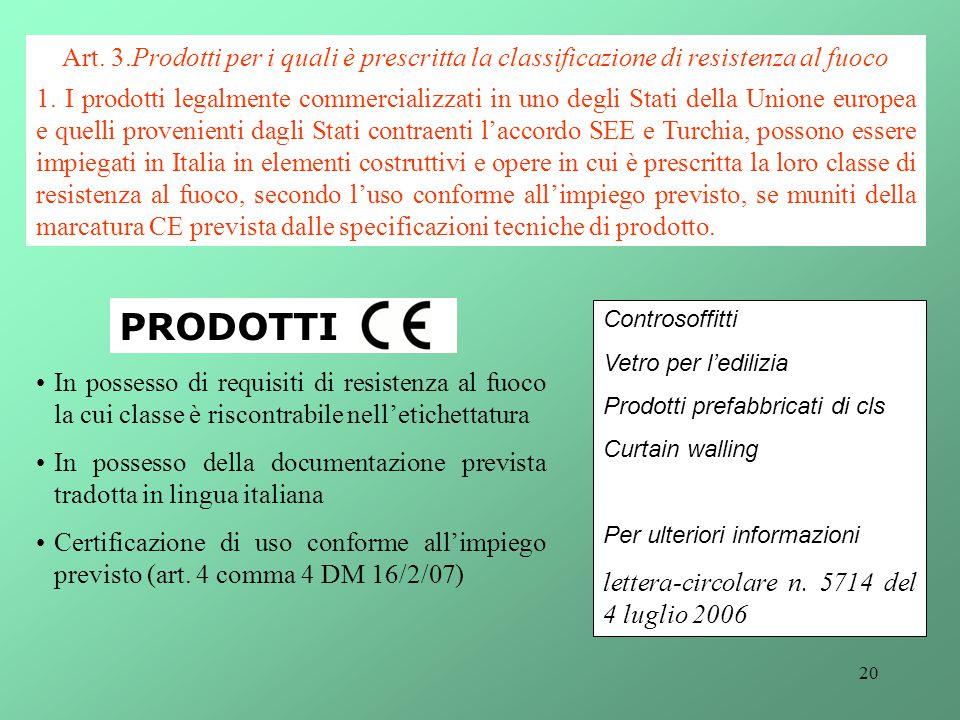 Art. 3.Prodotti per i quali è prescritta la classificazione di resistenza al fuoco