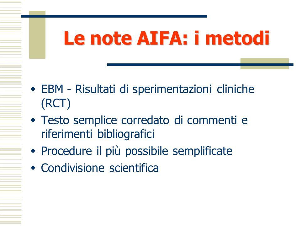 Le note AIFA: i metodi EBM - Risultati di sperimentazioni cliniche (RCT) Testo semplice corredato di commenti e riferimenti bibliografici.