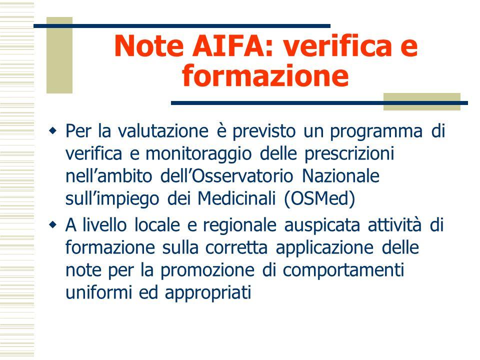 Note AIFA: verifica e formazione