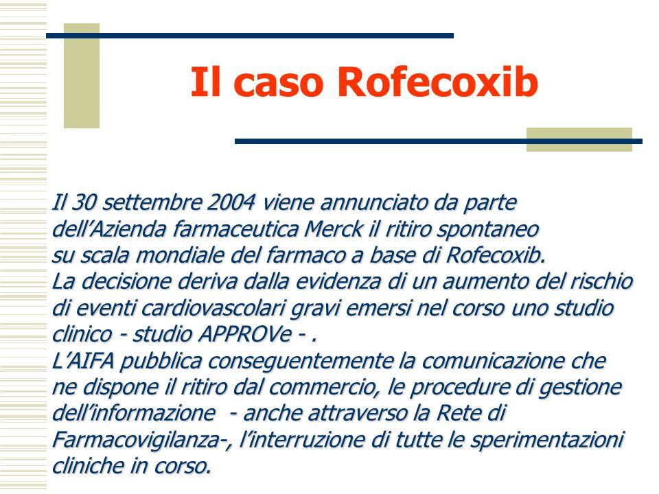 Il caso Rofecoxib Il 30 settembre 2004 viene annunciato da parte
