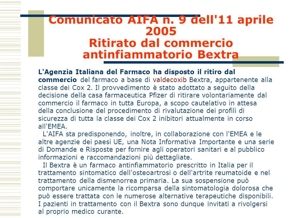 Comunicato AIFA n. 9 dell 11 aprile 2005 Ritirato dal commercio antinfiammatorio Bextra
