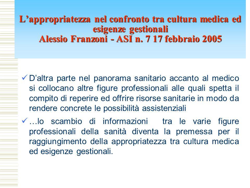 L'appropriatezza nel confronto tra cultura medica ed esigenze gestionali Alessio Franzoni - ASI n. 7 17 febbraio 2005