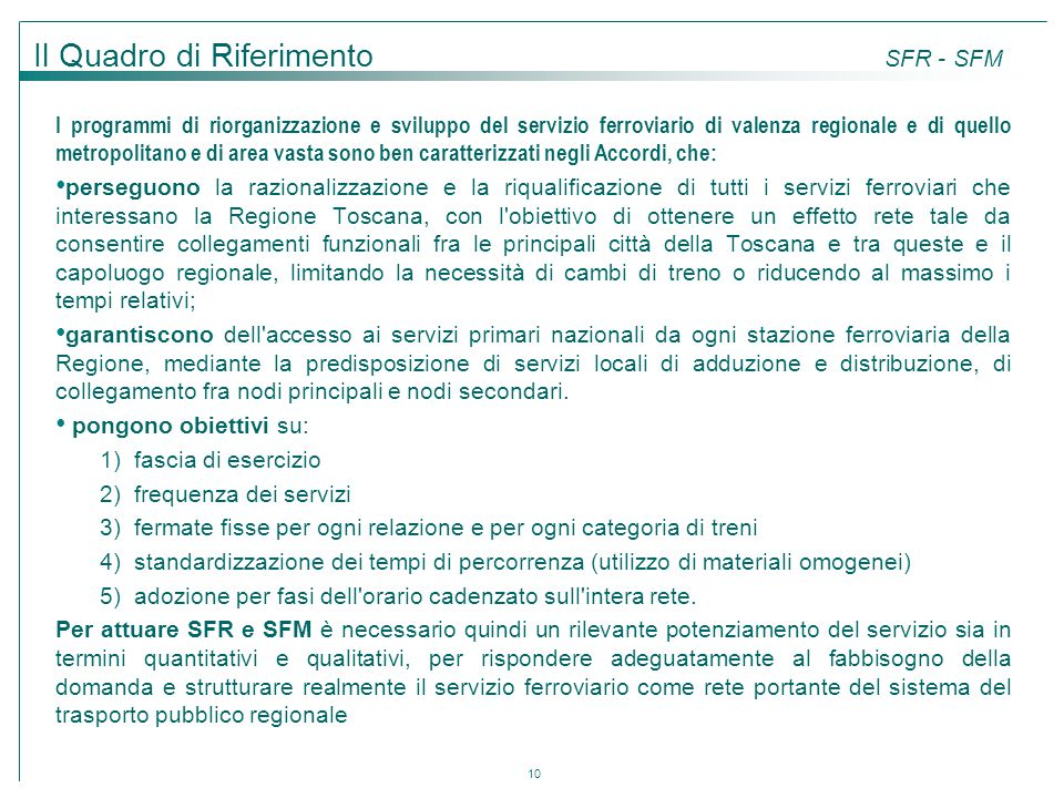 Il Quadro di Riferimento SFR - SFM