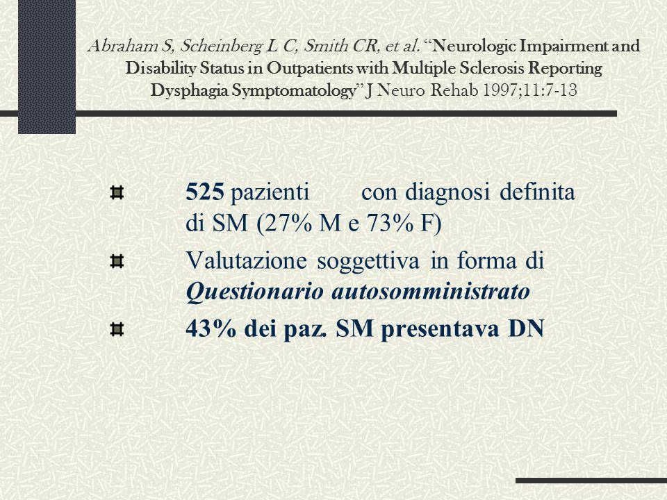 525 pazienti con diagnosi definita di SM (27% M e 73% F)